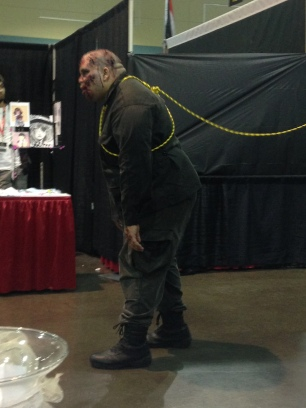 This zombie almost bit someone! Thankfully the Umbrella Corporation had him leashed.